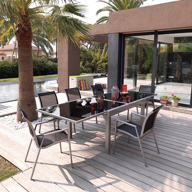 Salon de jardin, métal et verre, table + 6 chaises La Redoute ...