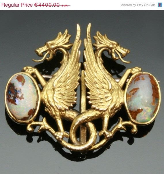 For Sale Antique opal gold brooch griffins Victorian jewelry ref.12284-0019 by adinantiquejewellery on Etsy https://www.etsy.com/listing/113370081/for-sale-antique-opal-gold-brooch