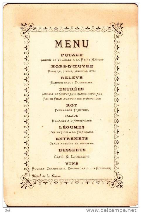 MENU Février 1899 Banquet Des AVOUES Hotel De La SIRENE à Meaux ...