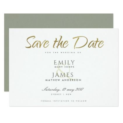 simple elegant gold grey typography save the date card foil leaf gift idea special template