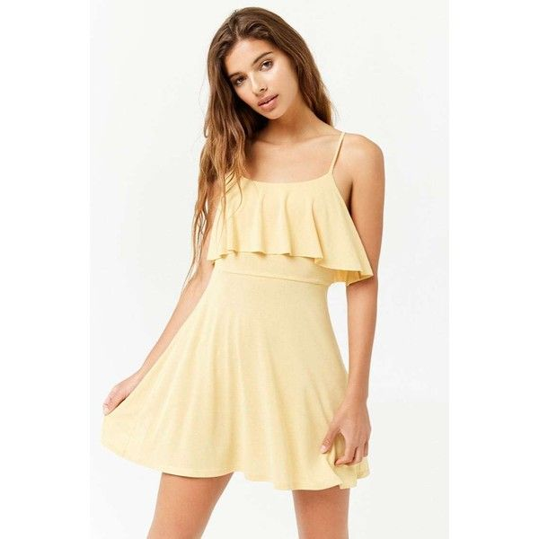 Forever 21 Flounce Cami Dress Mustard ($16) ❤ liked on Polyvore featuring  dresses,