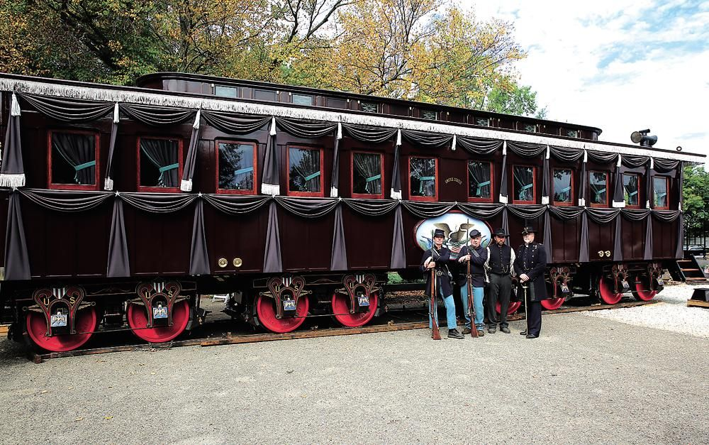A Replica Of The Lincoln Funeral Train Car That Carried The Body Of