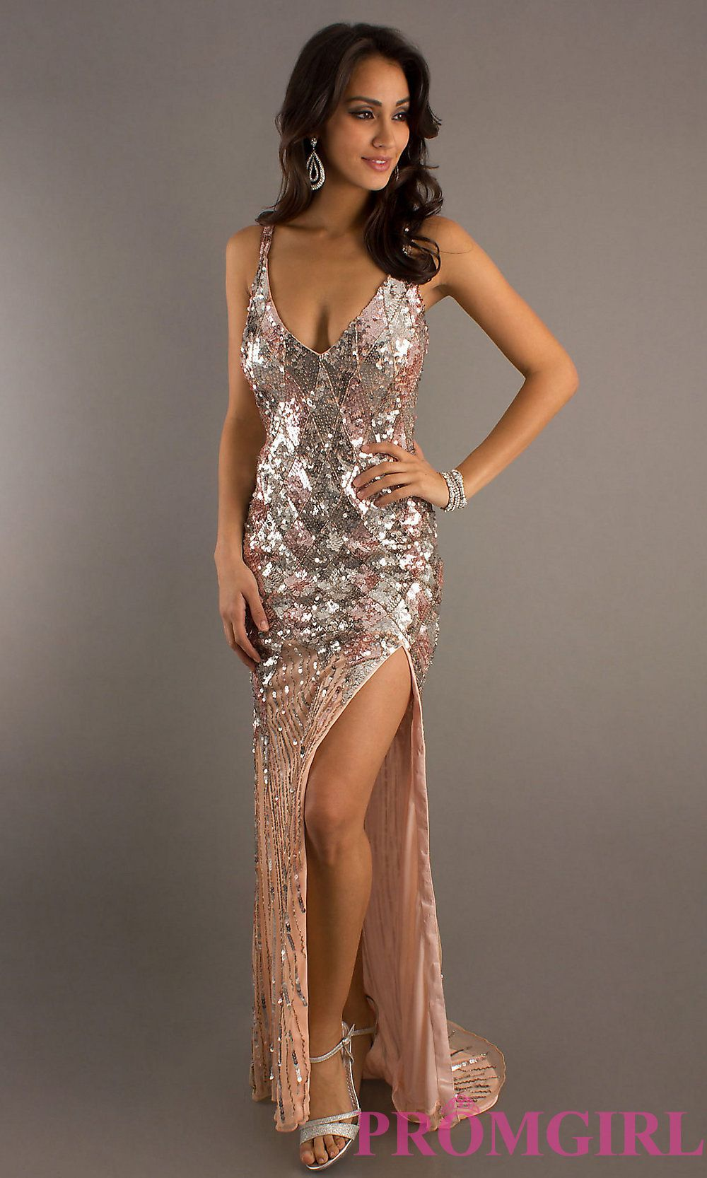 Long V-Neck Sequin Formal Dress by Primavera | Prom dresses ...