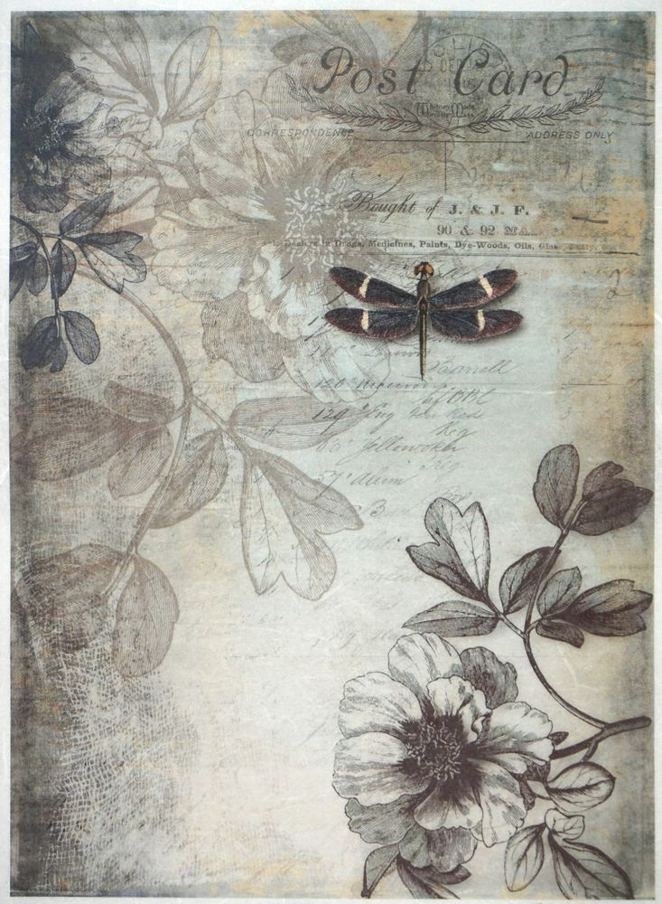 for Decoupage Scrapbooking Sheet Rice paper Butterflies dragonfly flower