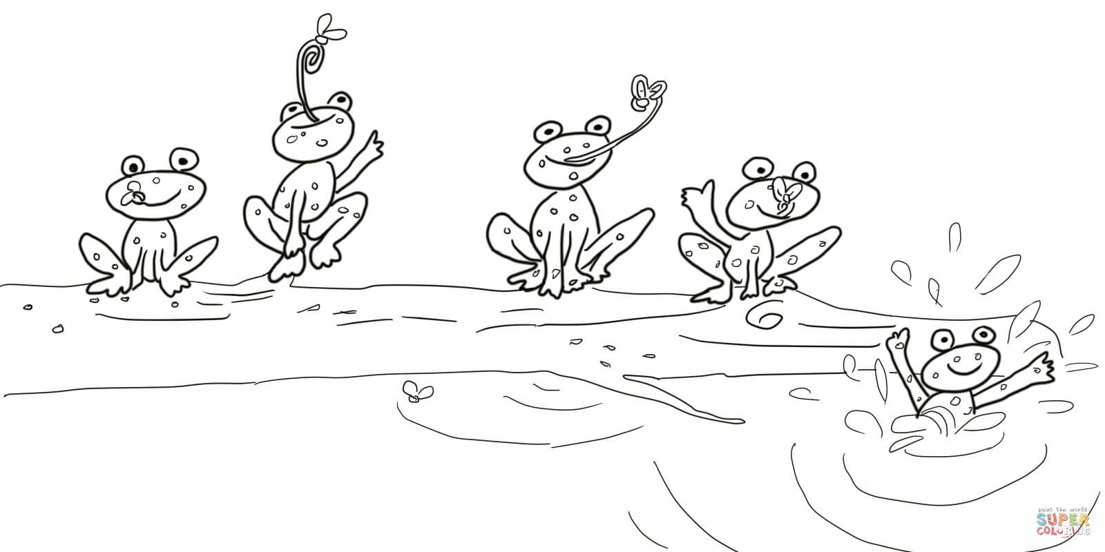5 Little Speckled Frogs Super Coloring Frog Coloring Pages