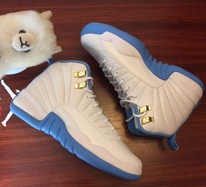 1ed9dcb07065 Nike Air Jordan 12 Retro GG GS Melo UNC White Gold University Blue ...