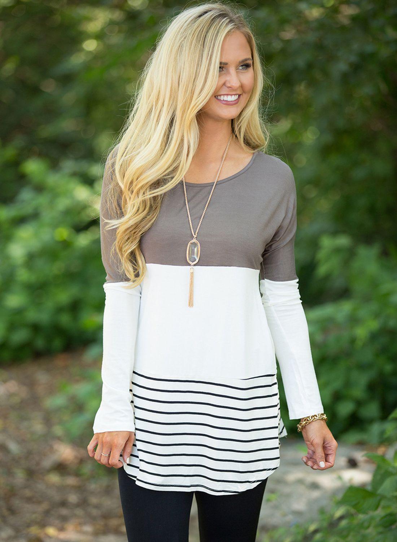 aec8933e3d9e Women s Color Block Long Sleeve Lace Panel Knit Tee Shirt - ROAWE ...