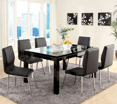 Justine Black Mirror Modern Table Set Dining Room Table Set