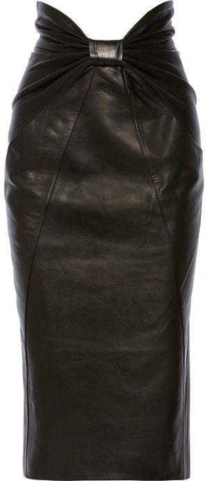 Balmain Ruched leather midi skirt