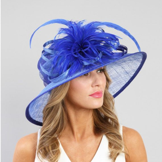 e2d55b90ce9 Medium Brim Sinamay Hat w Feather Fluff Center Tea Party Hat ...