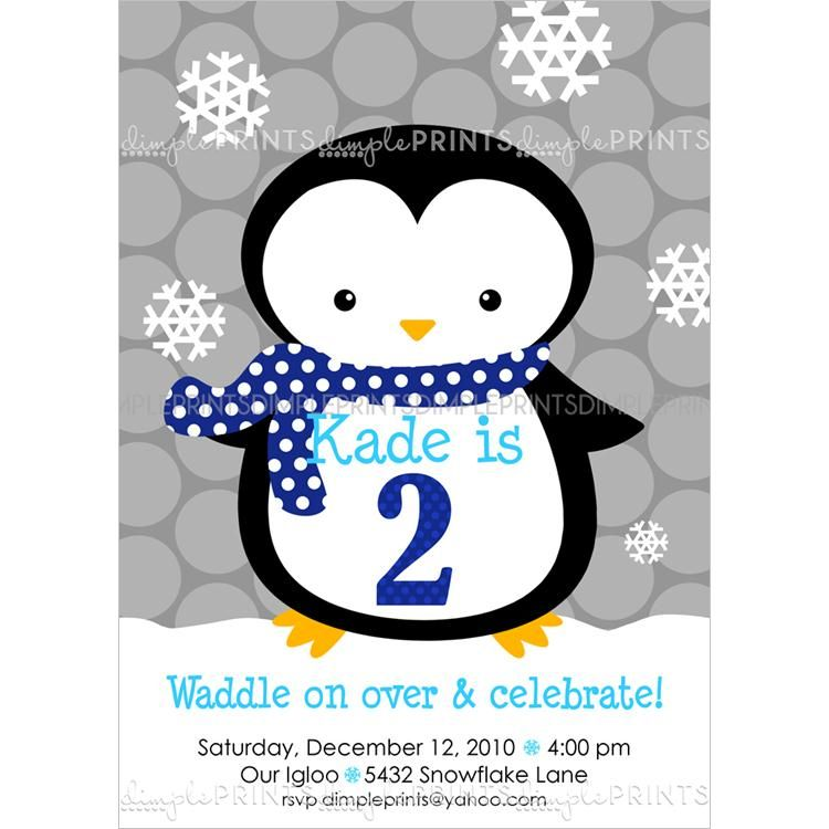 penguin scarf boy printable invitation in 2018 winter birthday and