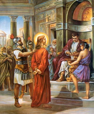 Paroisse Sainte Croix Des Lacs Peinture De Jesus Images Du Christ Ponce Pilate