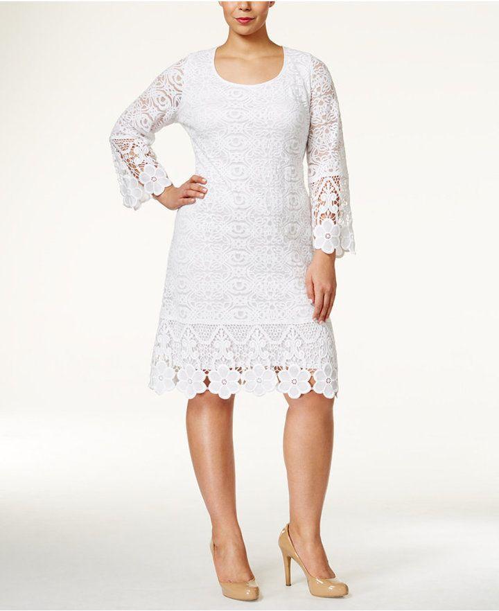 Alfani Plus Size Crochet Trim Lace Dress Only At Macys Plus Size