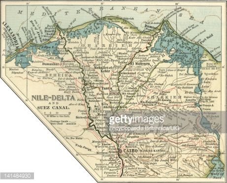 Stock Ilration Map Of The Nile Delta And Suez C