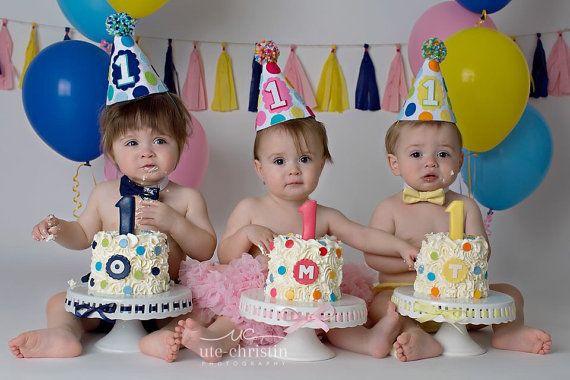 Boy Girl Twins 1st Birthday Party Hats Polkadot By Lalalolashop