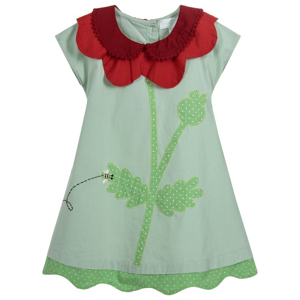 Green n gold dress  A charming light green and red cotton shift dress for girls by