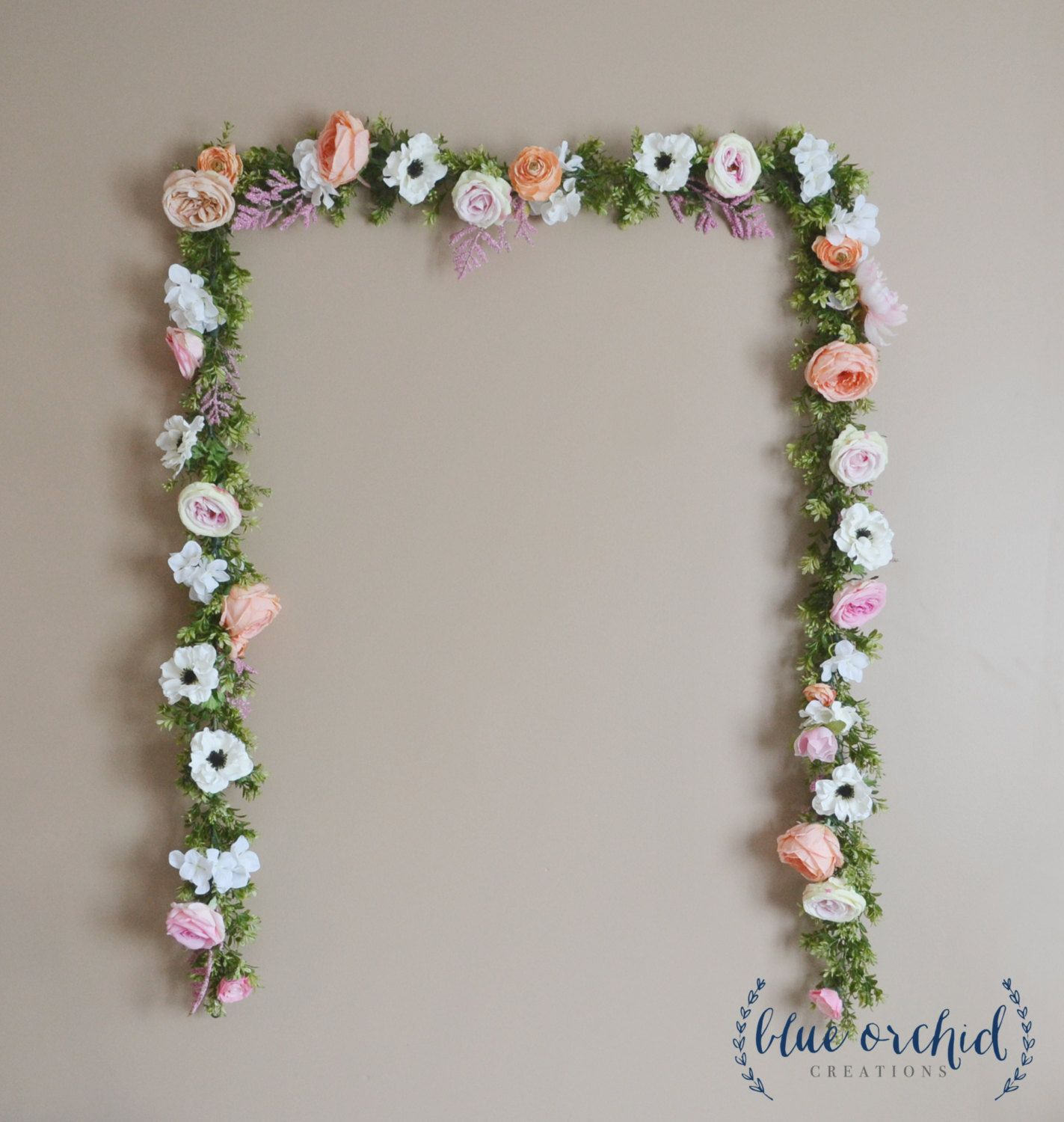 Wedding backdrop flower garland flower backdrop silk flower wedding backdrop flower garland flower backdrop silk flower garland peach pink dhlflorist Image collections