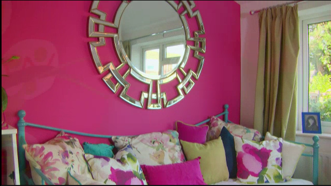 Aztec round mirror featured above sofa bed. As seen on Cowboy ...