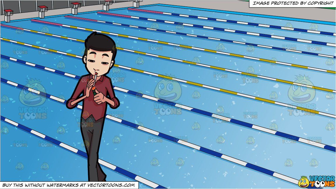 Clipart Cartoon A Man Lights Cigarette And Outdoor Competition Swimming Pool Background
