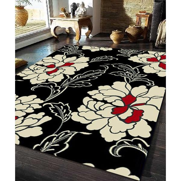 Peonie Flower Rug Black Red Off White 230x160cm Ideas
