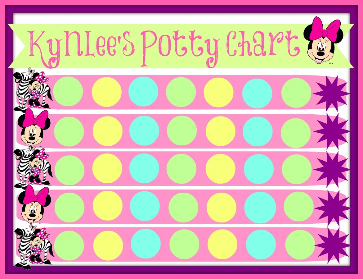 Minnie mouse potty chart this has been working with stickers