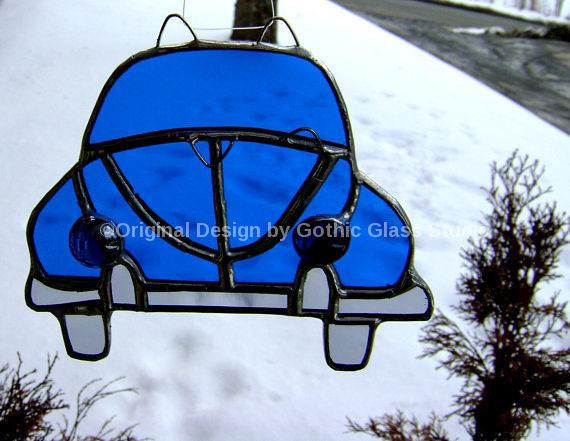 Blue Cars Beetle Stained Glass VW Suncatcher Hippie Love Bug Christmas Ornament Vintage Retro Blue Car Birthday Route 66 Original Design©