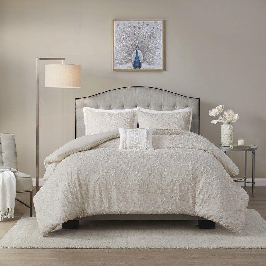 Madison Park Lydia 4 Piece Cotton Comforter Set Comforter Sets Taupe Comforter Duvet Cover Sets