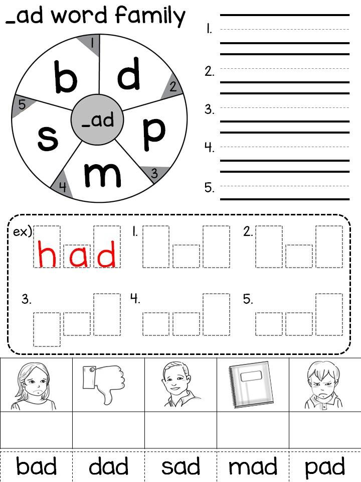 Word family wheel / CVC words / Short vowels / Handwriting ...
