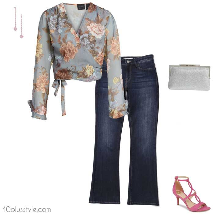 94b7341b2f The 5 best going out tops to wear with jeans - floral wrap ...