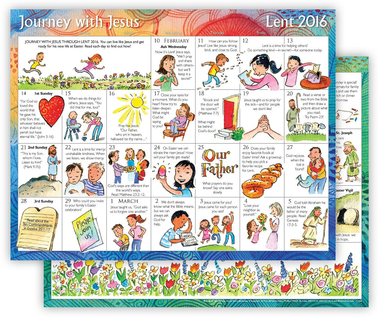 Lent Children S Calendar Invite Children And Their Families On A Lenten Journey That Counts