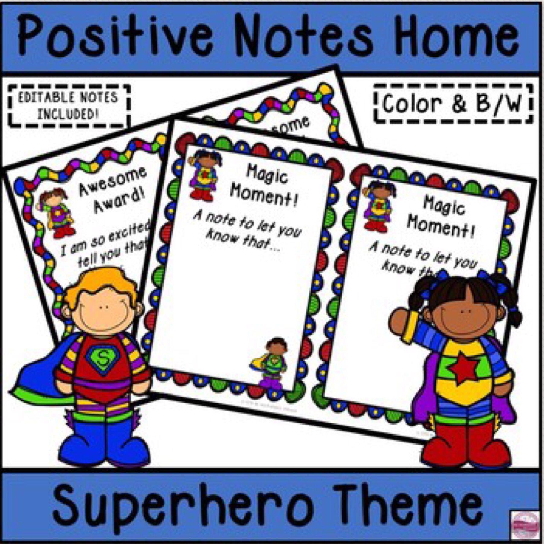 Positive Notes Home To Parents Superhero Theme