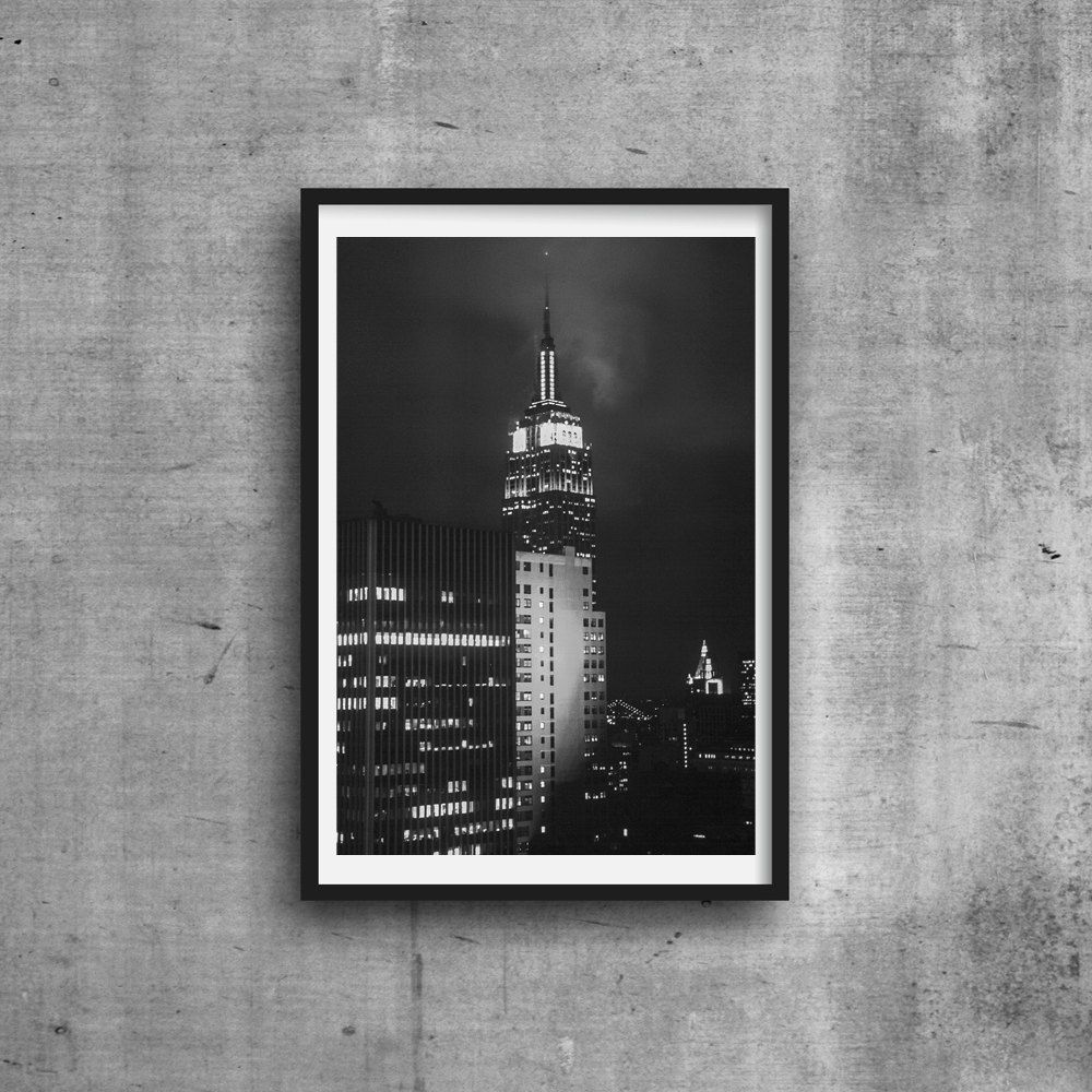 Empire state building photo new york city photograph black and white