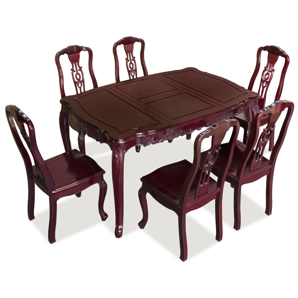 Rosewood French Dining Table Set With 6 Chairs French Dining Tables Dining Table Dining Table Setting