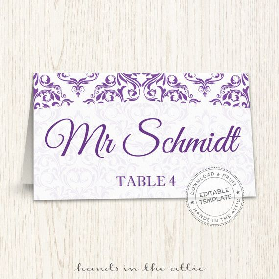 a4e1c0a3a77a5 Purple wedding printable seating cards editable wedding place cards ...