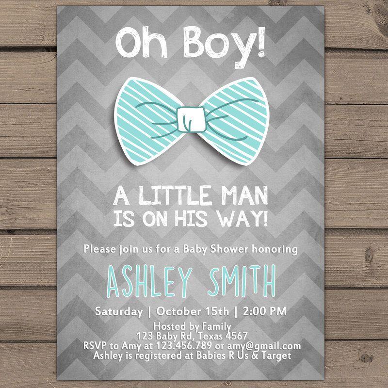 Oh Boy Baby Shower invitation Little man Baby Shower invite Baby Boy ...