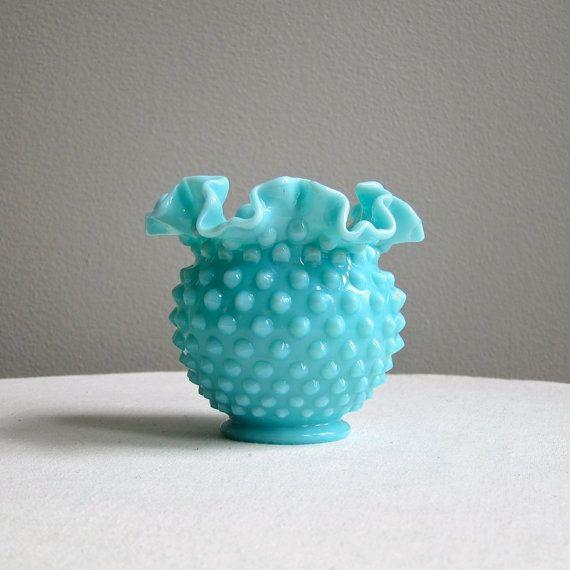 Turquoise Pastel Hobnail Milk Glass Vase by by BarkingSandsVintage