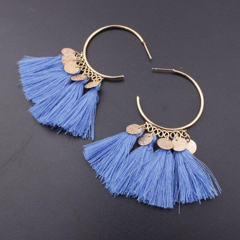 Ethnic Bohemia Ear Drop Dangle Long Rope Fringe Cotton Tassel Earrings Eardrop