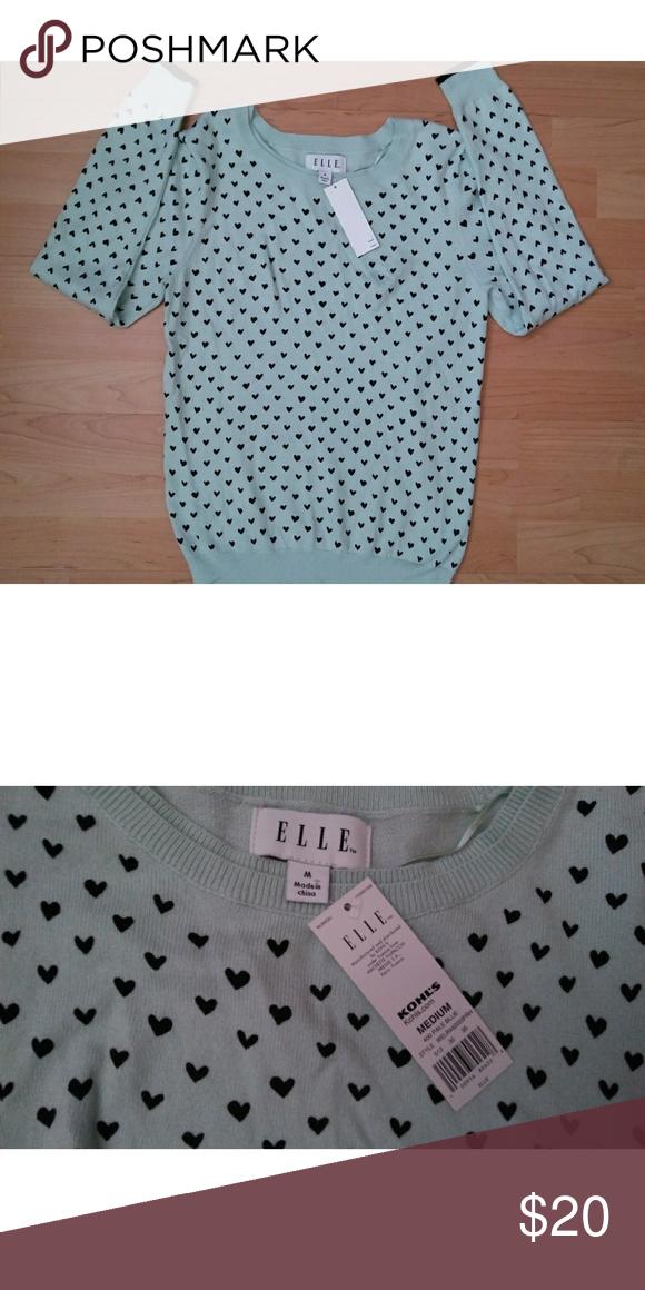 🆕Elle Heart Sweater COLOR: Pale Blue  DETAILS: NWT FABRIC: 55% Cotton 25% Nylon 20% Viscose Elle Tops