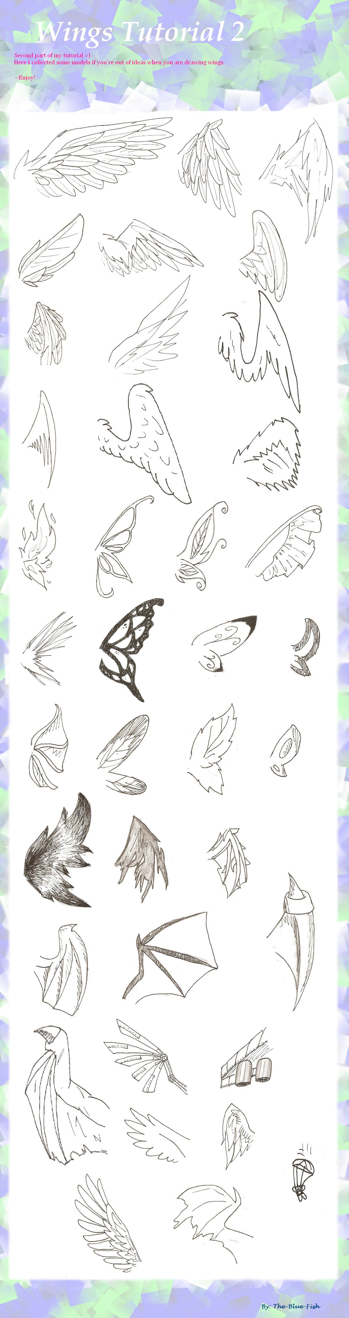 Wing Tutorial Pt 2 By The Blue Fish On Deviantart Drawings Art Tutorials Anime Drawings