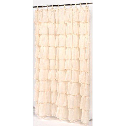 Carnation Home Fashions Carmen Ruffle Tier Fabric Shower Curtain