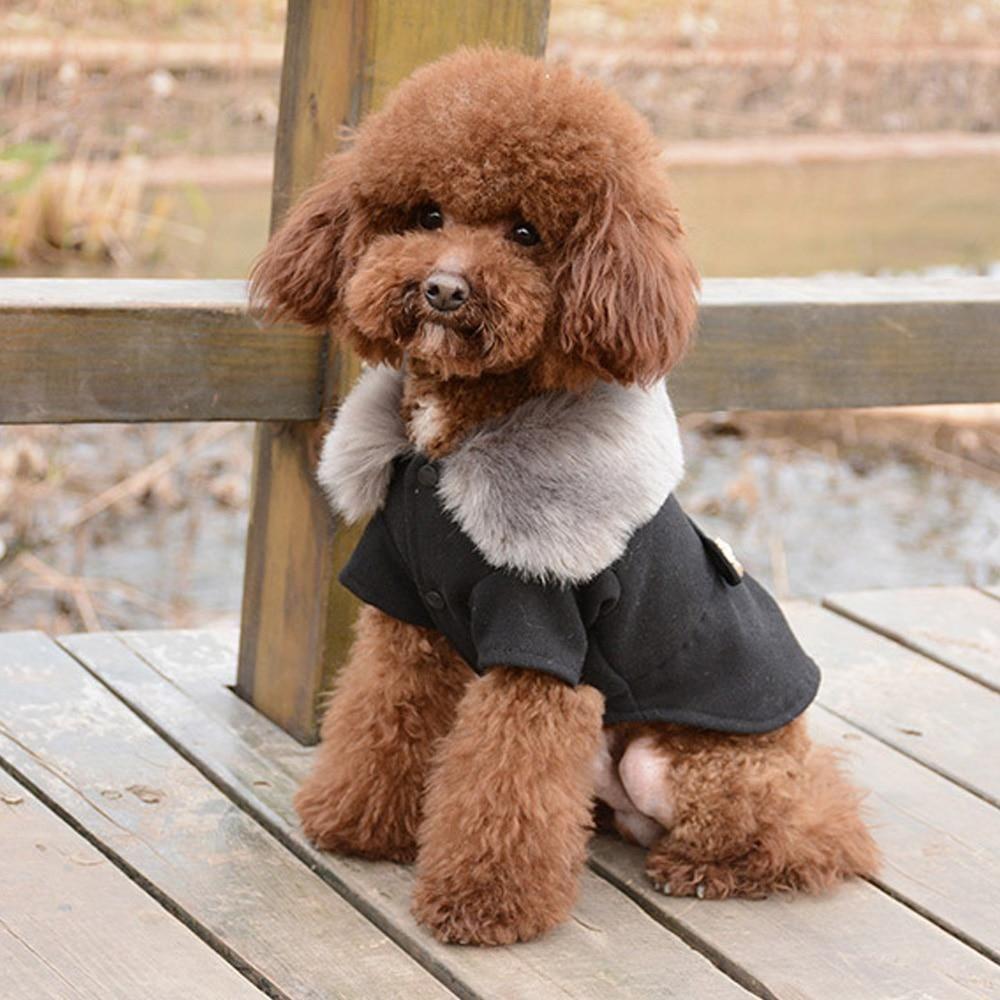 Fur Neck Dog Peacoat Dog Winter Coat Dog Coats Puppy Clothes
