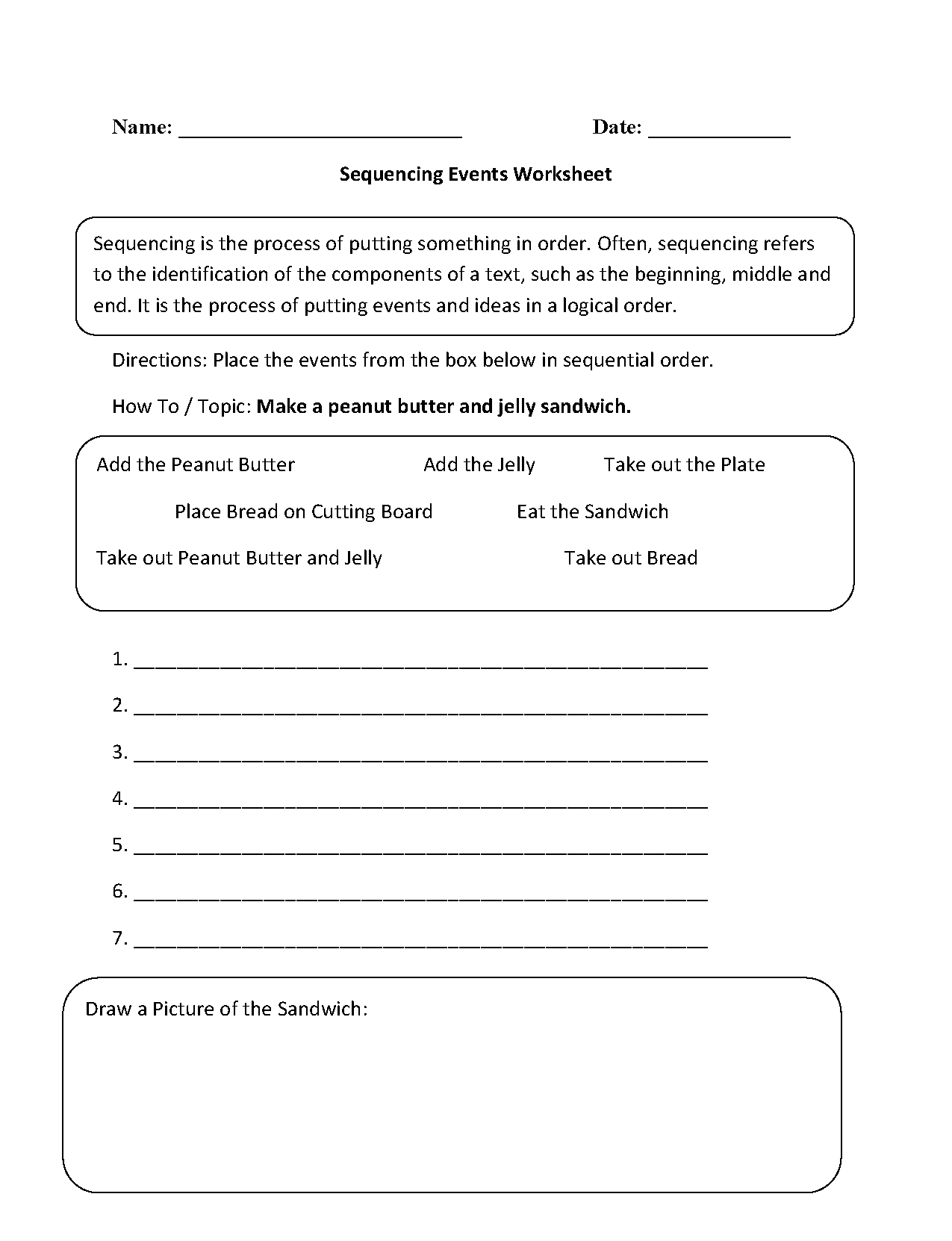 Sequencing Events Worksheets