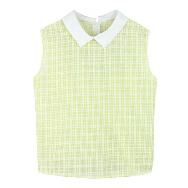 Checked Mate Lover Collar Shirt (Pastel Yellow) featuring polyvore, women's fashion, clothing, tops, shirts, tank tops, remeras, checkered collared shirt, checkered pattern shirt, check pattern shirt, yellow checked shirt and green checkered shirt