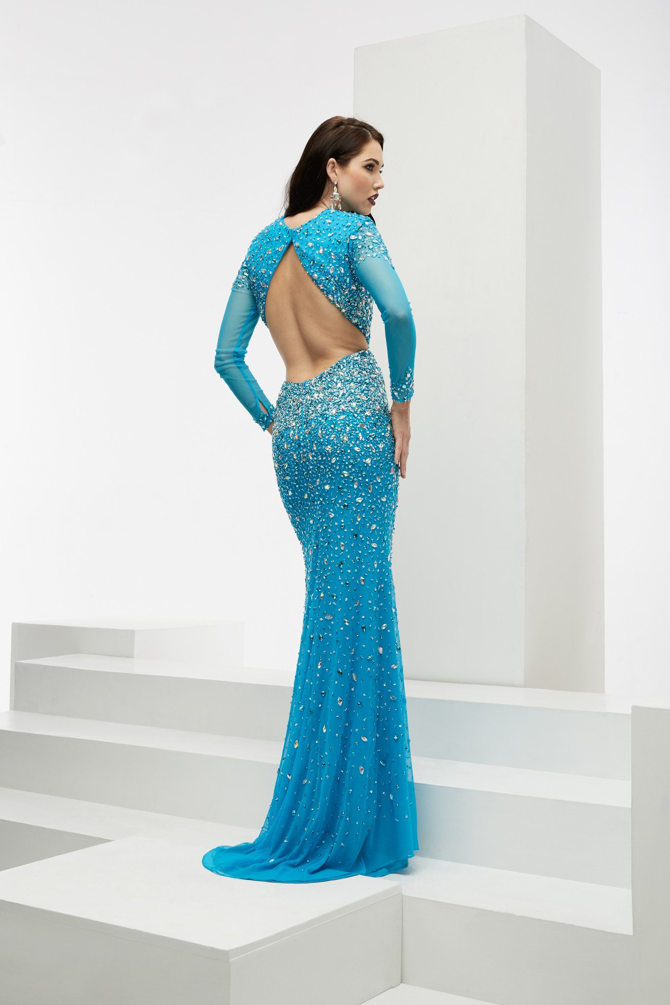 Jasz Couture 6026 Ocean Blue Sleeved Prom Dress   Products ...