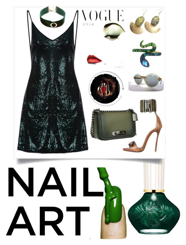 """Green is the new Black"" by yemmy-made ❤ liked on Polyvore featuring beauty, Dsquared2, Coach, Betsey Johnson, Design Lab, contest, Color, GREEN, Earth and nailedit"
