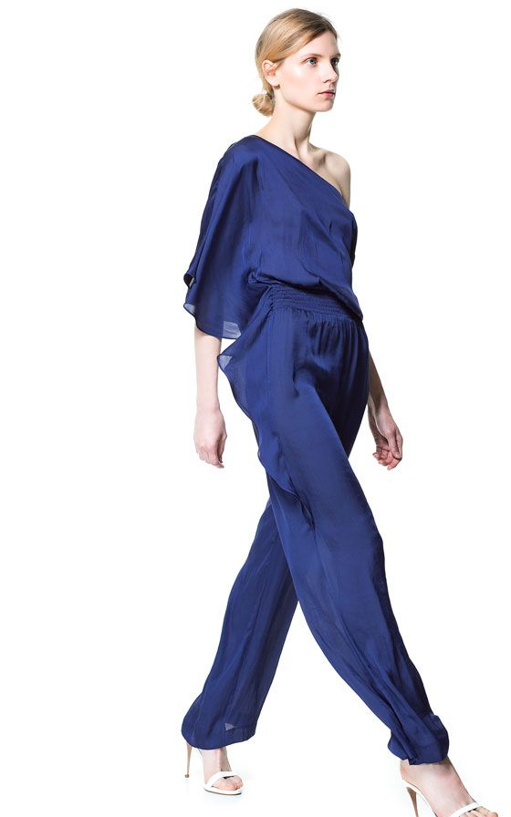 Image 1 of JUMPSUIT WITH ASYMMETRIC SLEEVES from Zara   my style ... ca69dd8c4da2