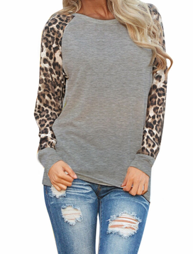 e6c34260be4f Item Type: Long Sleeves Women Blouse Pattern Type: Leopard Print On Sleeves  Fabric Type: Broadcloth Material: Cotton, Polyester Sleeve Length: Full  Color: ...