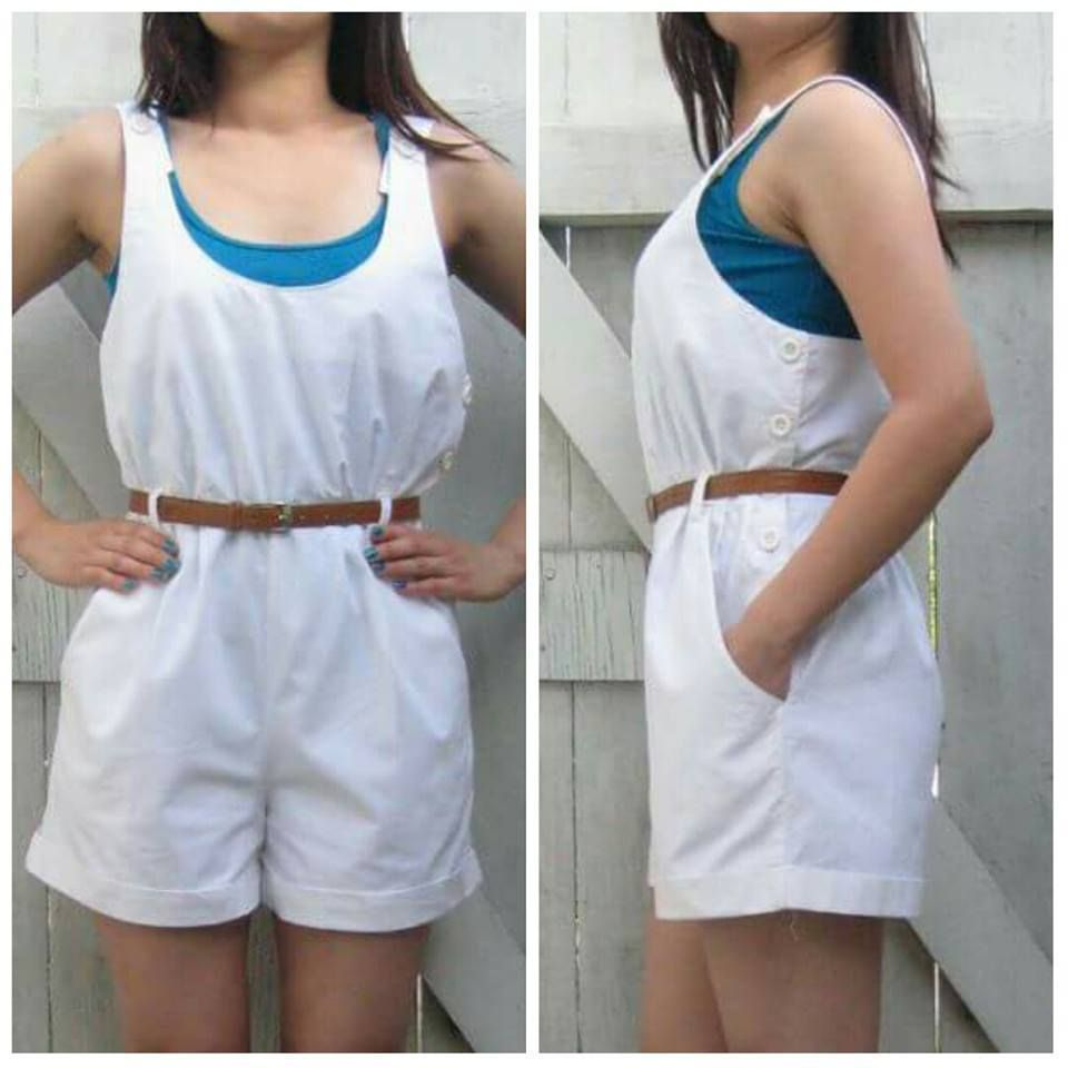 """Side buttons closure. (Blue tank top and belt are NOT included.). Hip: 21"""". Underarm to underarm: 18"""". Length: 32"""" : Inseam: 3"""". Waist: 15"""". 100% cotton. For reference, model is 5'5"""" and wears size 2/4. 