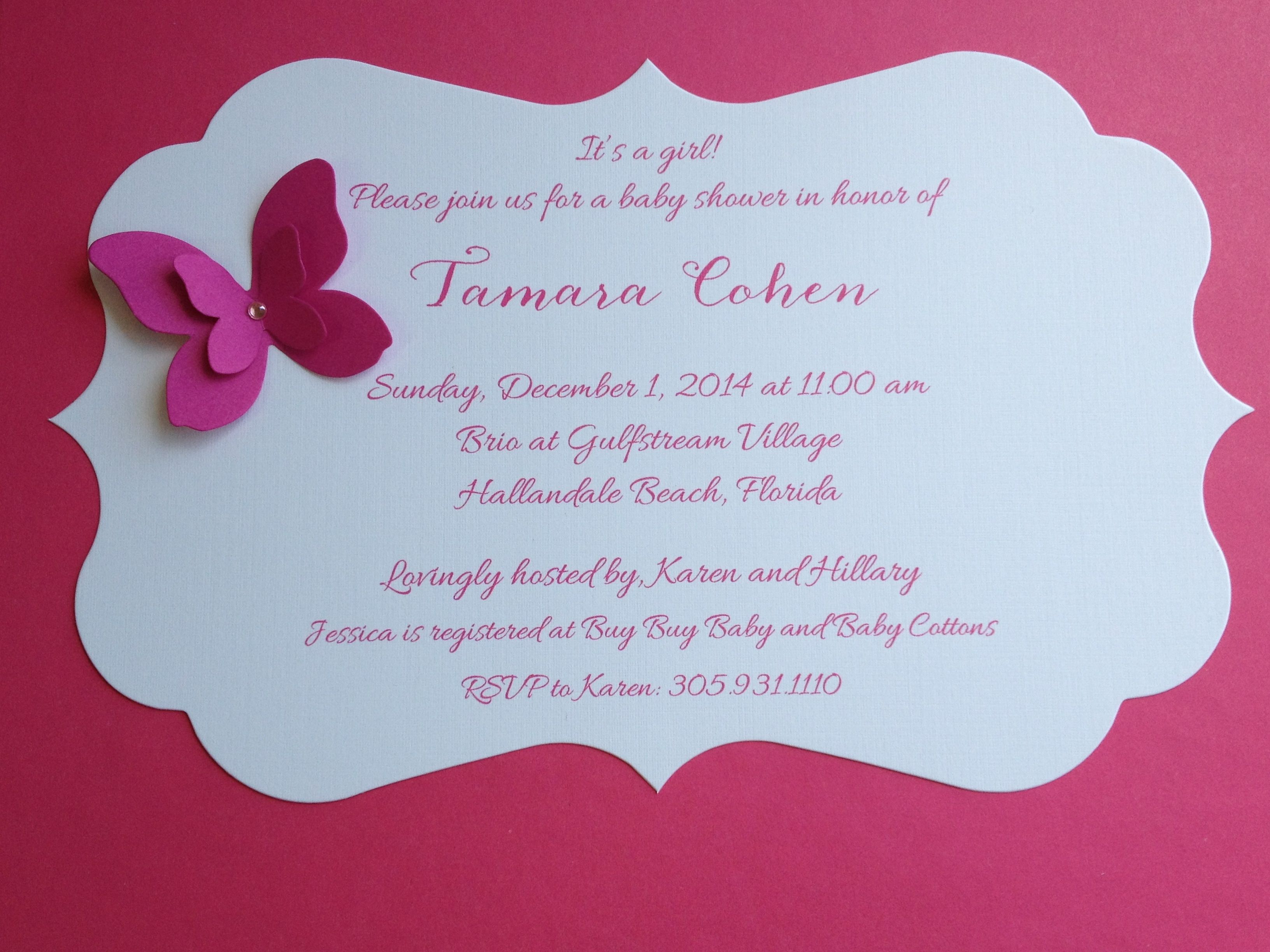 Baby Shower Invitations Die-Cut Butterfly invites | Baby Crafts ...