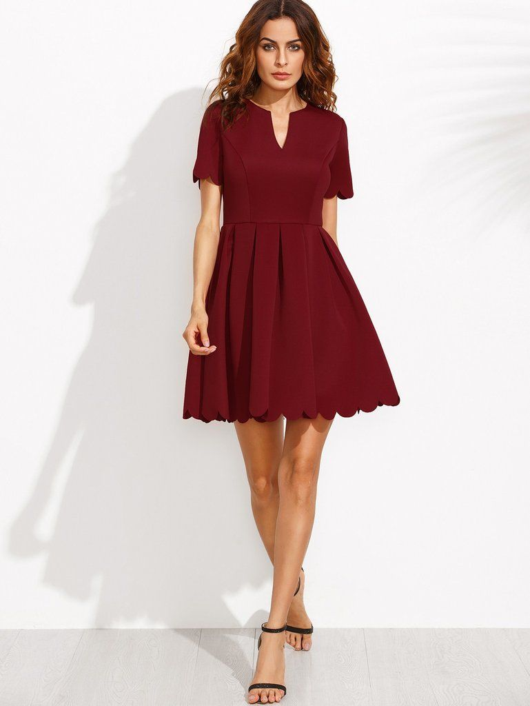 41c8f25d34 Sweet Sleeve Burgundy Scallop Pleated Fit and Flare Skater Dress  dresses –  ModeShe.com